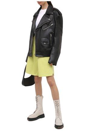 Женские кожаные ботинки OFF-WHITE белого цвета, арт. 0WIE009S21LEA0010300 | Фото 2 (Подошва: Платформа; Материал внутренний: Натуральная кожа; Женское Кросс-КТ: Военные ботинки; Каблук высота: Низкий)