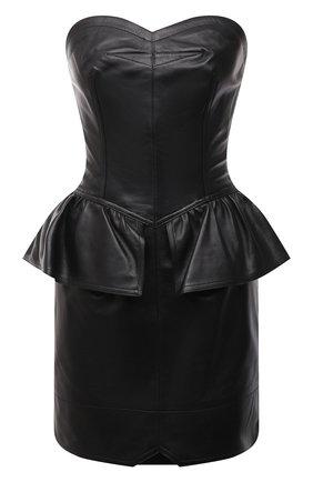 Женское кожаное платье ISABEL MARANT черного цвета, арт. R01986-21E003I/AL0ZI   Фото 1