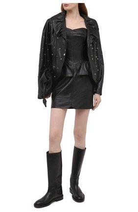 Женское кожаное платье ISABEL MARANT черного цвета, арт. R01986-21E003I/AL0ZI   Фото 2
