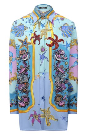 Женская хлопковая рубашка VERSACE голубого цвета, арт. A88869/1F00963 | Фото 1