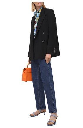Женская хлопковая рубашка VERSACE голубого цвета, арт. A88869/1F00963 | Фото 2