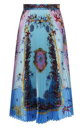 Женская плиссированная юбка VERSACE голубого цвета, арт. A89382/1F01182 | Фото 1