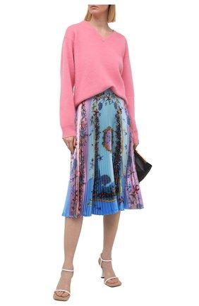 Женская плиссированная юбка VERSACE голубого цвета, арт. A89382/1F01182 | Фото 2