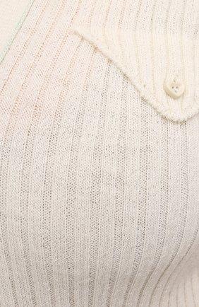 Женский шерстяной топ BOTTEGA VENETA светло-бежевого цвета, арт. 656279/V0QZ0 | Фото 5 (Материал внешний: Шерсть; Рукава: Короткие; Длина (для топов): Стандартные; Кросс-КТ: с рукавом; Стили: Кэжуэл)