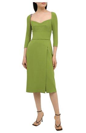Женское платье DOLCE & GABBANA зеленого цвета, арт. F6N0UT/FURDV | Фото 2