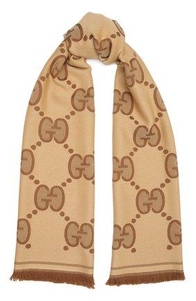 Женский шерстяной шарф GUCCI коричневого цвета, арт. 581537/3G200 | Фото 1
