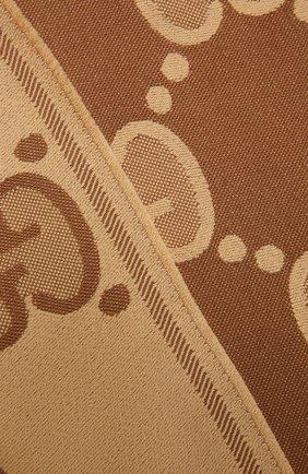 Женский шерстяной шарф GUCCI коричневого цвета, арт. 581537/3G200 | Фото 2
