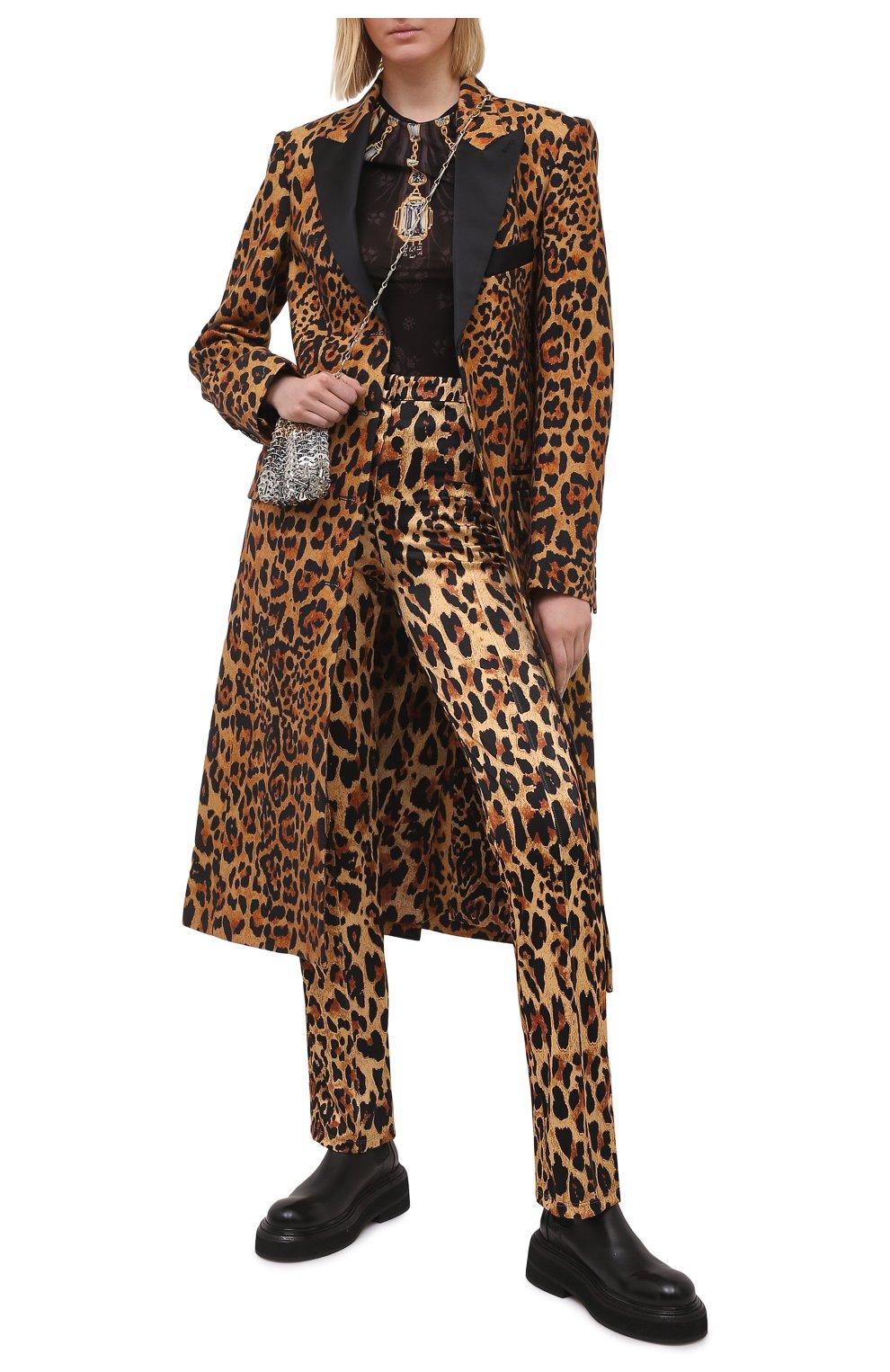 Женские брюки из вискозы PACO RABANNE леопардового цвета, арт. 21EJPA122VI0231 | Фото 2