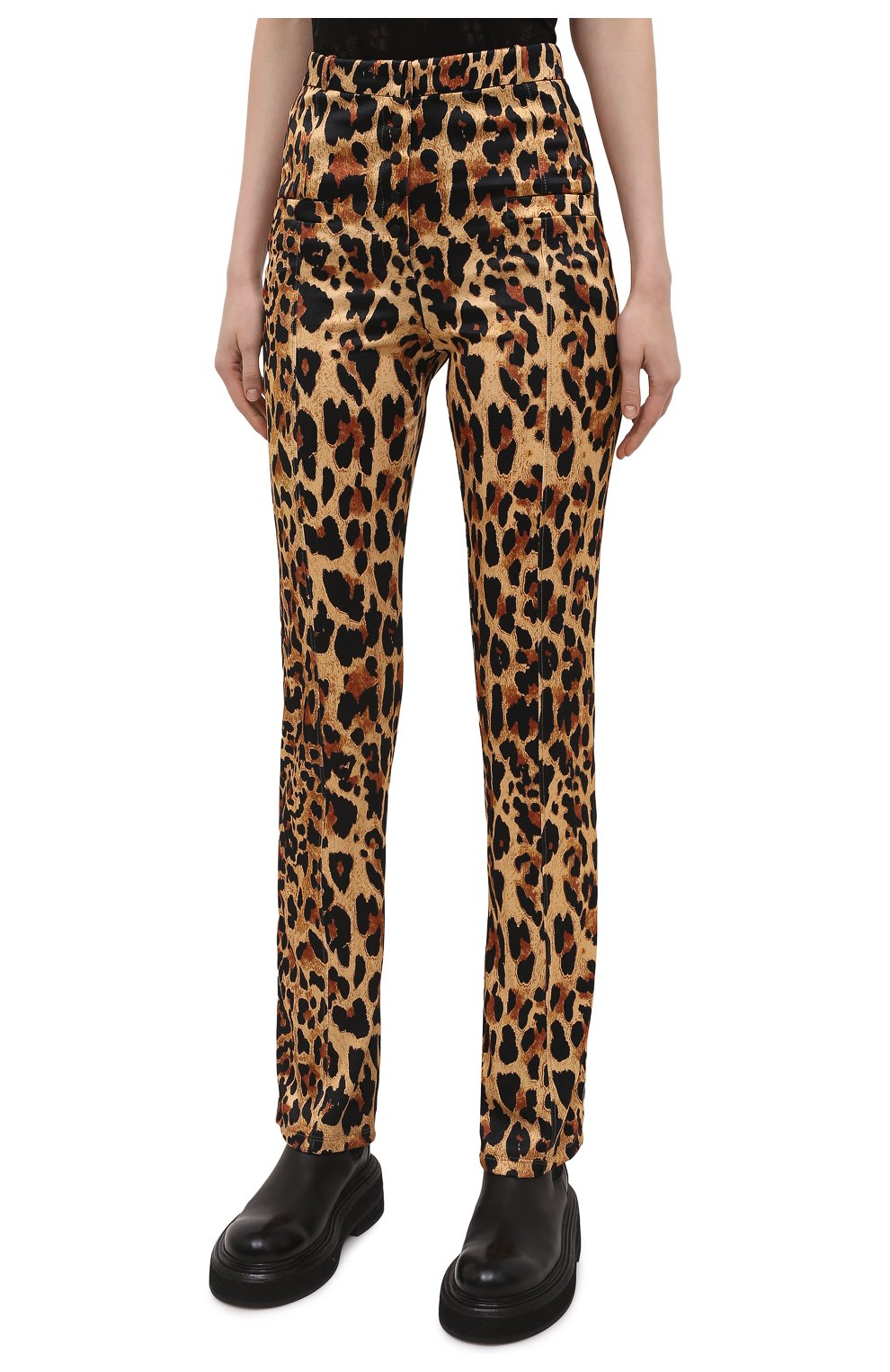 Женские брюки из вискозы PACO RABANNE леопардового цвета, арт. 21EJPA122VI0231 | Фото 3