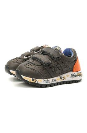 Детские кожаные кроссовки PREMIATA WILL BE серого цвета, арт. LUCY V/12-21462/T0D | Фото 1 (Материал внешний: Кожа; Материал внутренний: Натуральная кожа; Стили: Гранж)