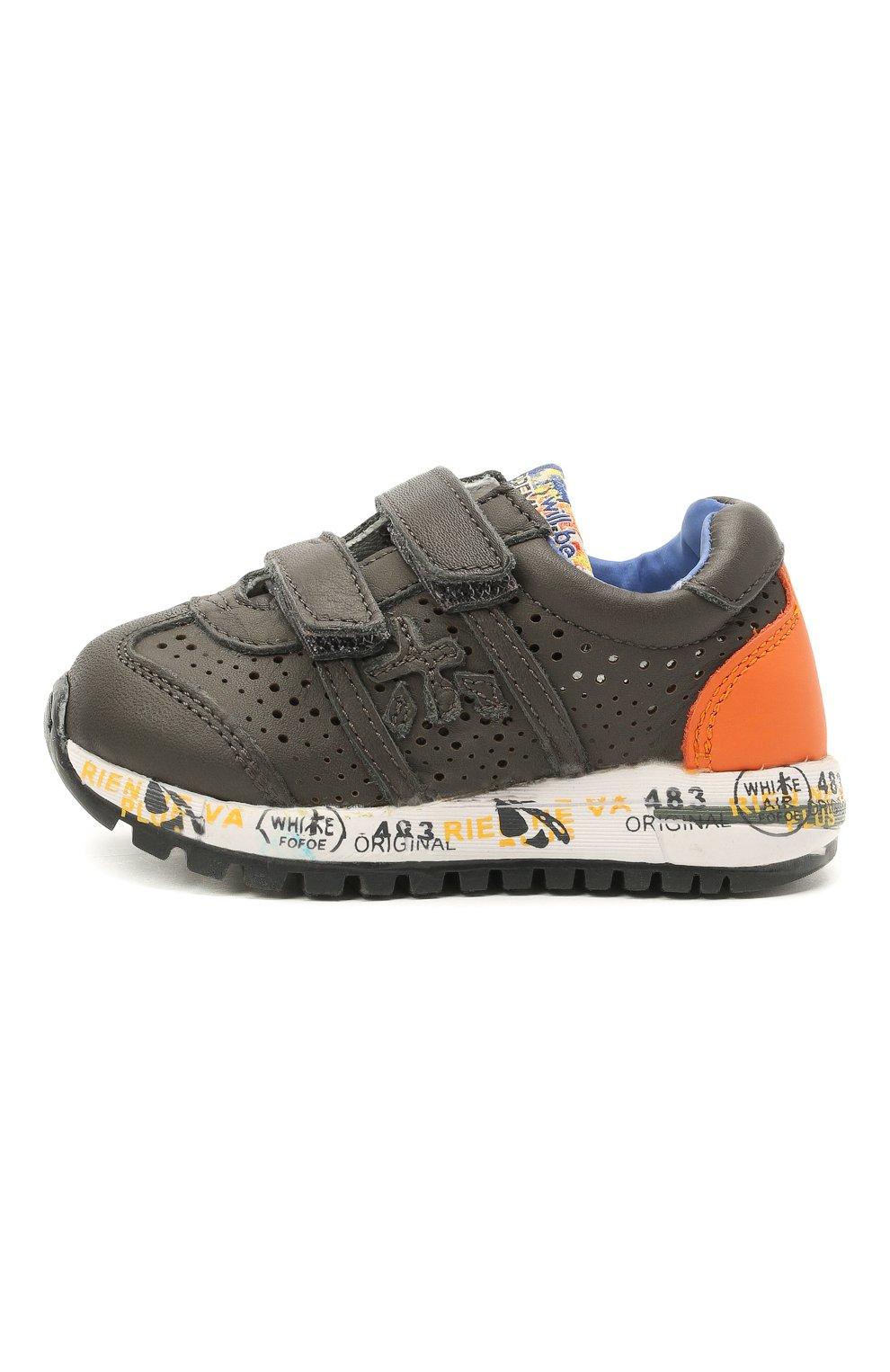 Детские кожаные кроссовки PREMIATA WILL BE серого цвета, арт. LUCY V/12-21462/T0D | Фото 2 (Материал внешний: Кожа; Материал внутренний: Натуральная кожа; Стили: Гранж)