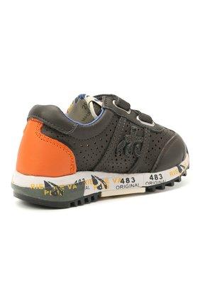 Детские кожаные кроссовки PREMIATA WILL BE серого цвета, арт. LUCY V/12-21462/T0D | Фото 3 (Материал внешний: Кожа; Материал внутренний: Натуральная кожа; Стили: Гранж)