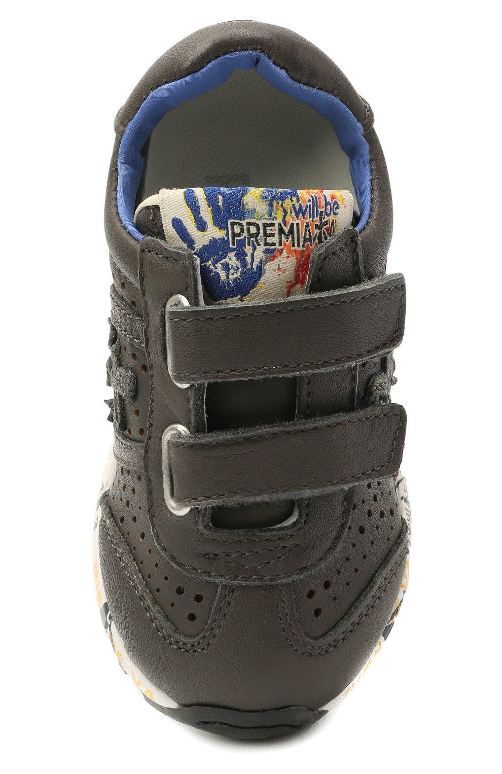 Детские кожаные кроссовки PREMIATA WILL BE серого цвета, арт. LUCY V/12-21462/T0D | Фото 4 (Материал внешний: Кожа; Материал внутренний: Натуральная кожа; Стили: Гранж)