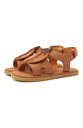 Детские кожаные сандалии DONSJE AMSTERDAM коричневого цвета, арт. 2004004-CL001/23-28   Фото 1