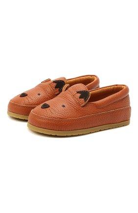 Детские кожаные слипоны DONSJE AMSTERDAM коричневого цвета, арт. 2013001-CL012/23-28 | Фото 1