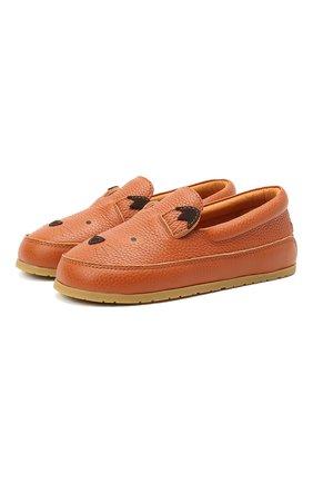Детские кожаные слипоны DONSJE AMSTERDAM коричневого цвета, арт. 2013001-CL012/29-33 | Фото 1
