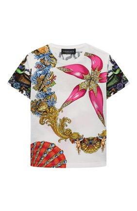 Детская хлопковая футболка VERSACE разноцветного цвета, арт. 1000239/1A00419/4A-6A | Фото 1