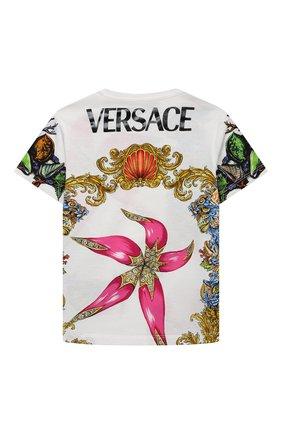 Детская хлопковая футболка VERSACE разноцветного цвета, арт. 1000239/1A00419/4A-6A | Фото 2
