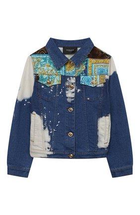 Детская джинсовая куртка VERSACE синего цвета, арт. 1000118/1A00317/8A-14A | Фото 1