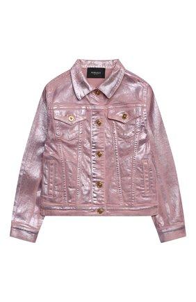 Детская джинсовая куртка VERSACE розового цвета, арт. 1000008/1A00050/8A-14A | Фото 1