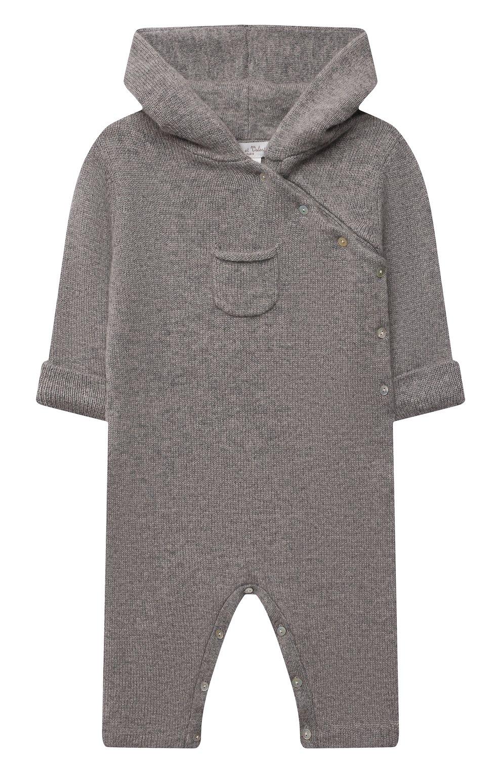 Детский кашемировый комбинезон OSCAR ET VALENTINE серого цвета, арт. PIL01 | Фото 1