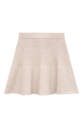 Детская кашемировая юбка OSCAR ET VALENTINE бежевого цвета, арт. JUP05S | Фото 1