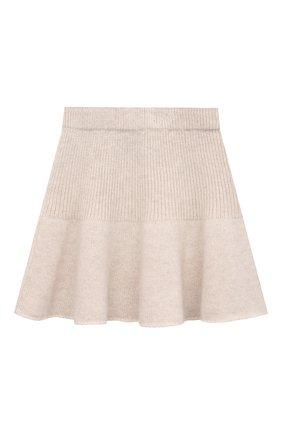 Детская кашемировая юбка OSCAR ET VALENTINE бежевого цвета, арт. JUP05S | Фото 2