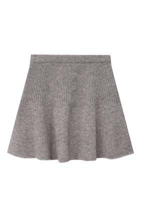 Детская кашемировая юбка OSCAR ET VALENTINE серого цвета, арт. JUP05S | Фото 1