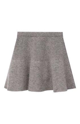 Детская кашемировая юбка OSCAR ET VALENTINE серого цвета, арт. JUP05S | Фото 2