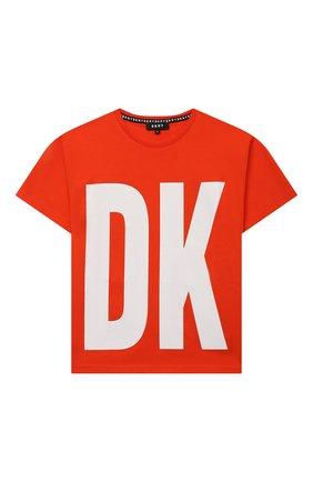 Детская хлопковая футболка DKNY оранжевого цвета, арт. D25D29 | Фото 1