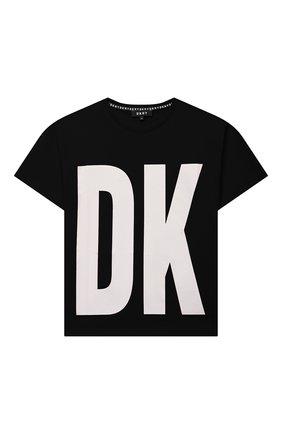 Детская хлопковая футболка DKNY черного цвета, арт. D25D29 | Фото 1