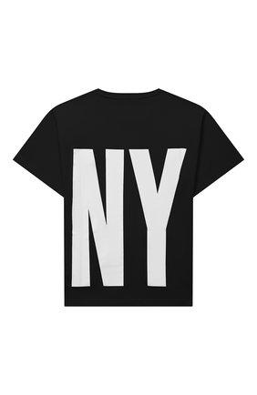 Детская хлопковая футболка DKNY черного цвета, арт. D25D29 | Фото 2