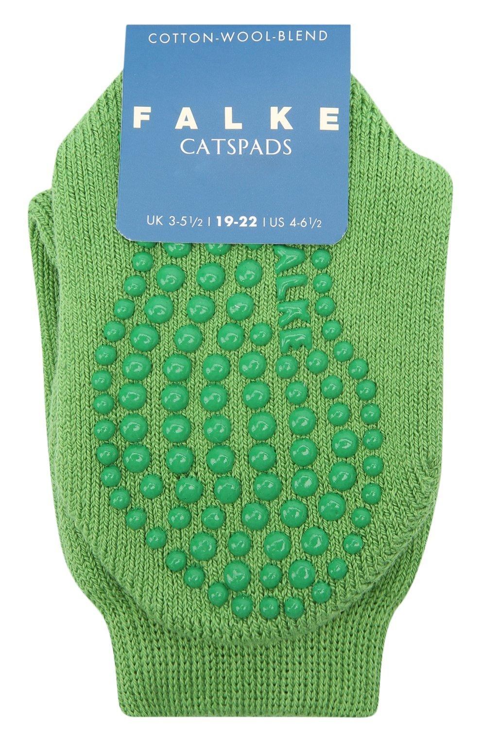 Детские носки из хлопка и шерсти FALKE зеленого цвета, арт. 10500.   Фото 1 (Материал: Текстиль, Хлопок)