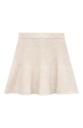 Детская кашемировая юбка OSCAR ET VALENTINE бежевого цвета, арт. JUP05M | Фото 1