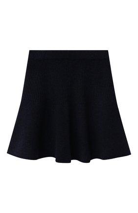 Детская кашемировая юбка OSCAR ET VALENTINE синего цвета, арт. JUP05S | Фото 1