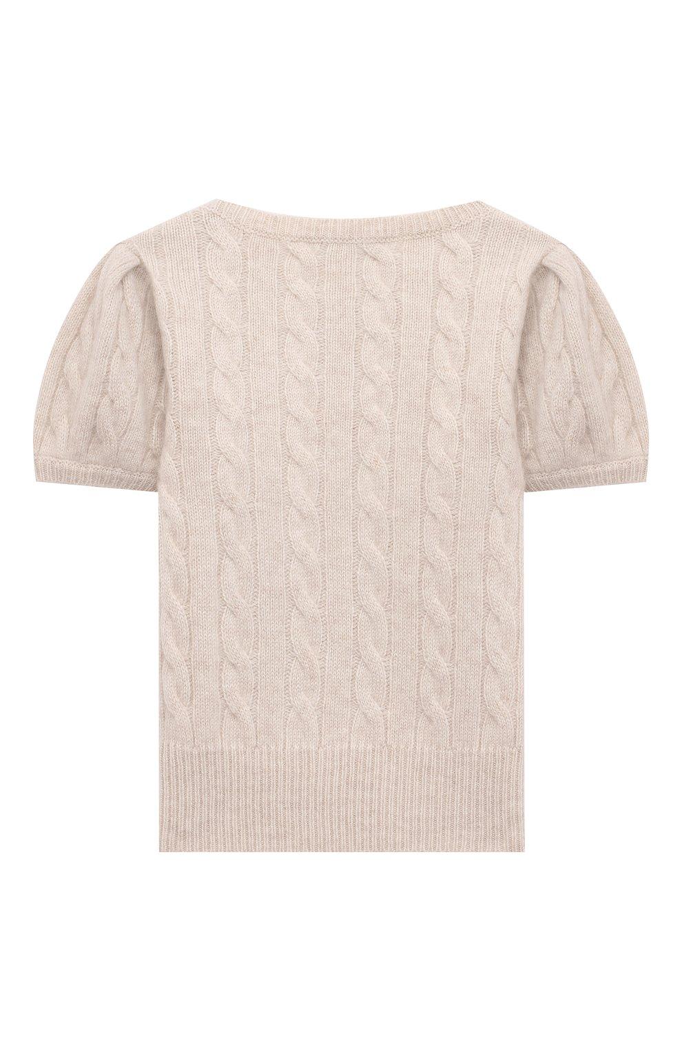 Детский кашемировый пуловер OSCAR ET VALENTINE бежевого цвета, арт. PUL05S   Фото 2