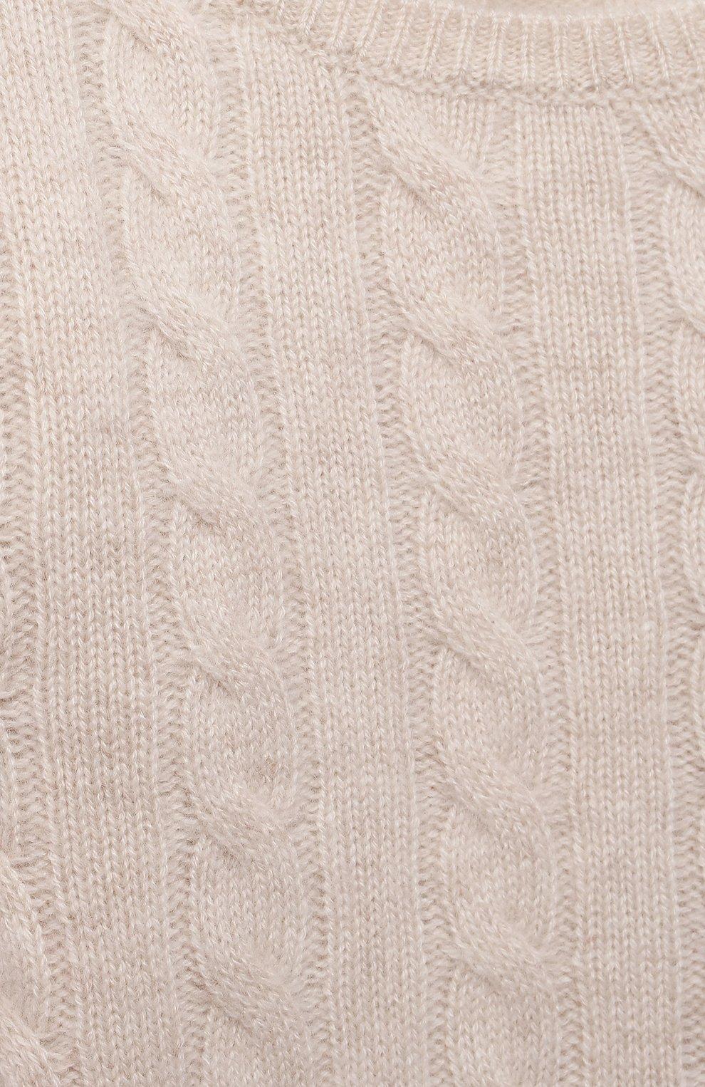 Детский кашемировый пуловер OSCAR ET VALENTINE бежевого цвета, арт. PUL05S   Фото 3