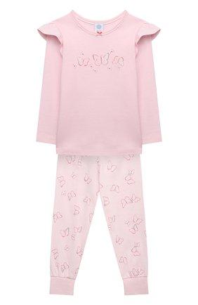 Детский хлопковая пижама SANETTA светло-розового цвета, арт. 232608 | Фото 1