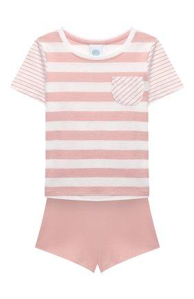 Детская хлопковая пижама SANETTA светло-розового цвета, арт. 232568 | Фото 1