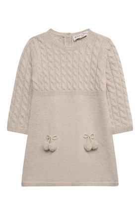 Детское кашемировое платье OSCAR ET VALENTINE бежевого цвета, арт. ROB05M | Фото 1 (Материал внешний: Кашемир, Шерсть; Рукава: Длинные; Случай: Повседневный; Девочки Кросс-КТ: Платье-одежда; Ростовка одежда: 2 года | 92 см, 3 года | 98 см)