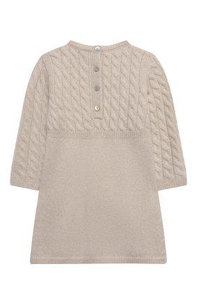 Детское кашемировое платье OSCAR ET VALENTINE бежевого цвета, арт. ROB05M | Фото 2 (Материал внешний: Кашемир, Шерсть; Рукава: Длинные; Случай: Повседневный; Девочки Кросс-КТ: Платье-одежда; Ростовка одежда: 2 года | 92 см, 3 года | 98 см)