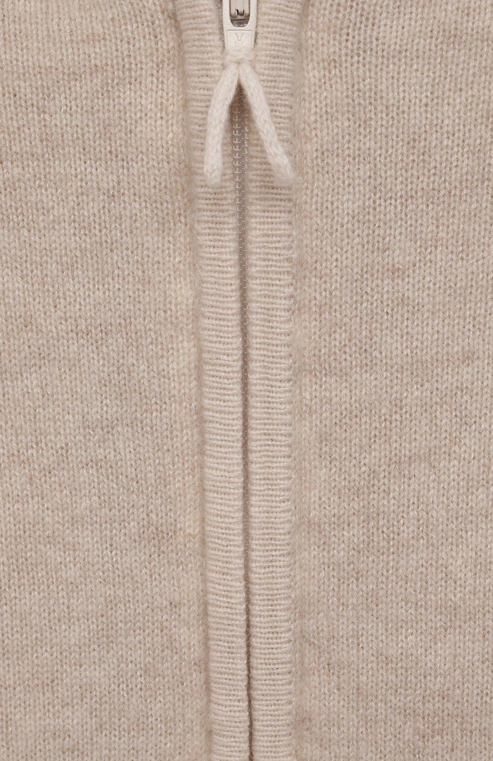 Детский кашемировая толстовка OSCAR ET VALENTINE бежевого цвета, арт. JOG01S | Фото 3