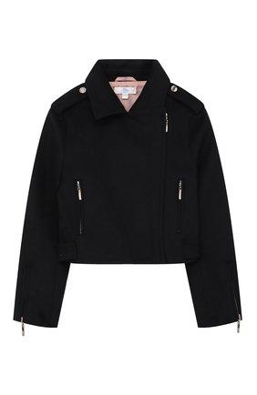 Детская куртка с косой молнией ZHANNA & ANNA черного цвета, арт. ZAB05022021 | Фото 1