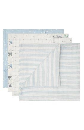 Детского комплект из четырех пеленок ADEN+ANAIS голубого цвета, арт. ASWC40006 | Фото 1