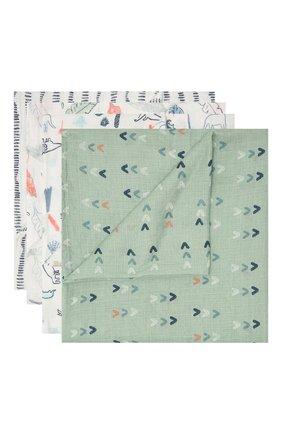 Детского комплект из четырех пеленок ADEN+ANAIS зеленого цвета, арт. ESWC40002B | Фото 1