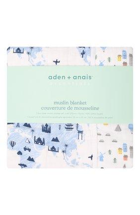 Детского хлопковое одеяло ADEN+ANAIS голубого цвета, арт. EMBC10007 | Фото 1
