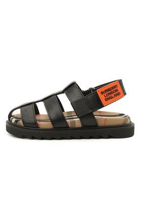 Детские кожаные сандалии BURBERRY черного цвета, арт. 8037066 | Фото 2