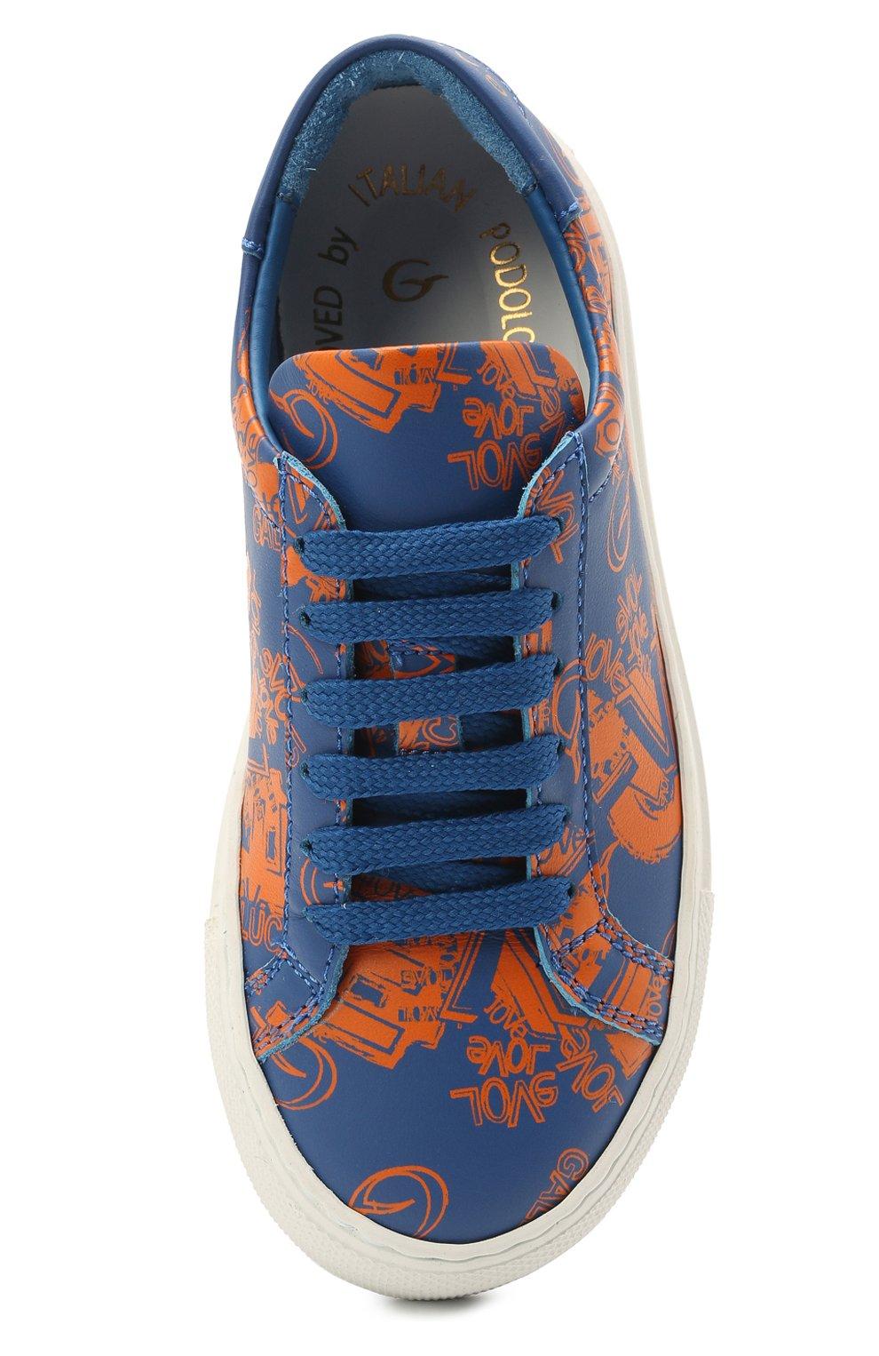 Детские кожаные кеды GALLUCCI синего цвета, арт. J20193CS/SC P V G0M VL0 | Фото 4 (Материал внутренний: Натуральная кожа)