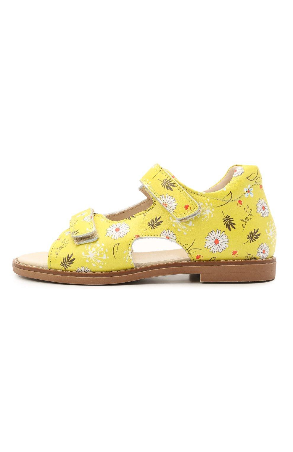 Детские кожаные босоножки GALLUCCI желтого цвета, арт. T00434BM/SA P C 2794 VSI | Фото 2 (Материал внутренний: Натуральная кожа)
