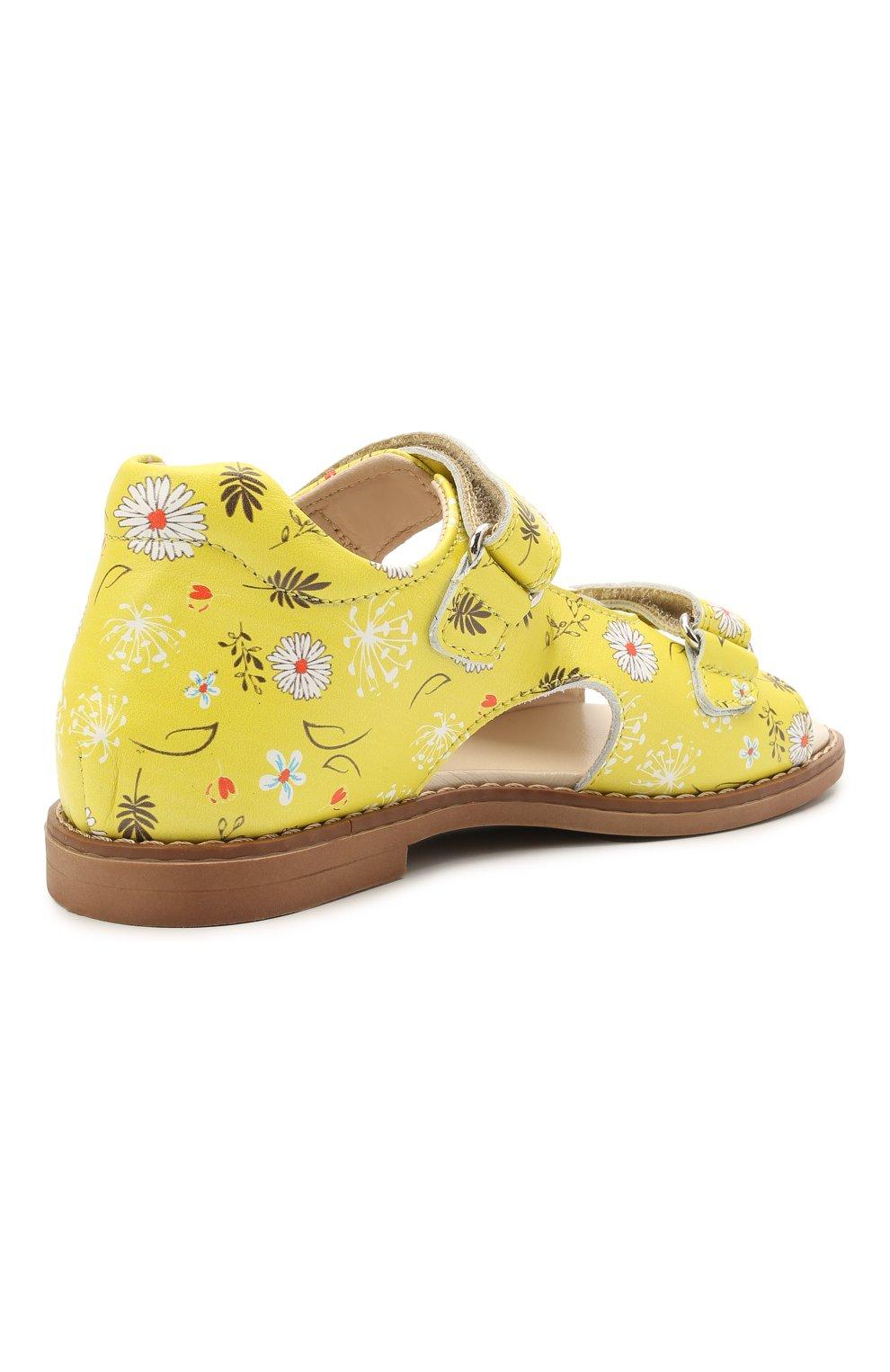 Детские кожаные босоножки GALLUCCI желтого цвета, арт. T00434BM/SA P C 2794 VSI | Фото 3 (Материал внутренний: Натуральная кожа)